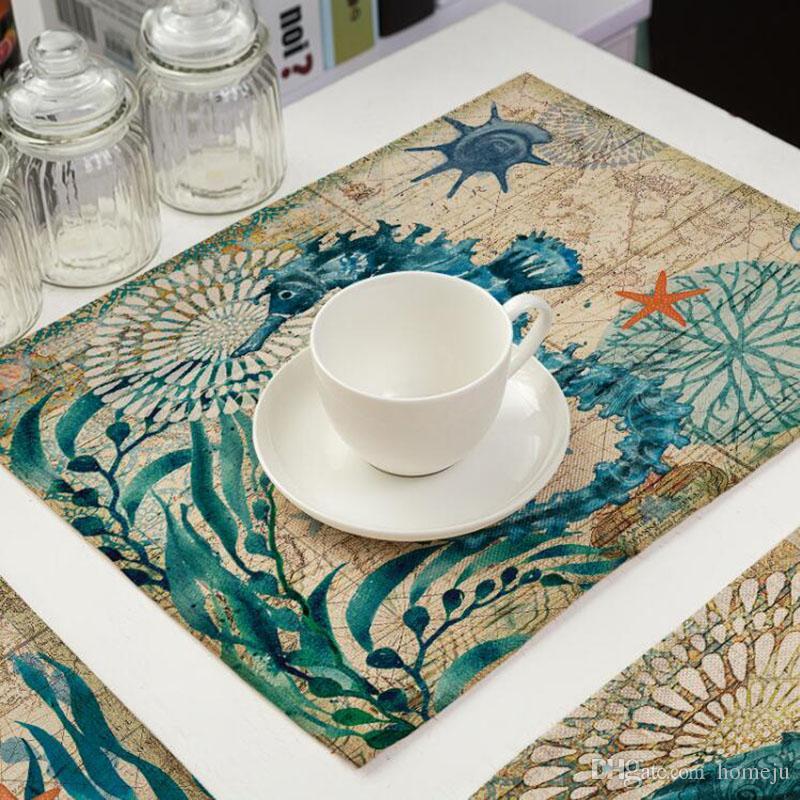 Kitchen Table Mats Cotton Linen Table Napkin Marine Sea Turtle - Sea turtle coffee table