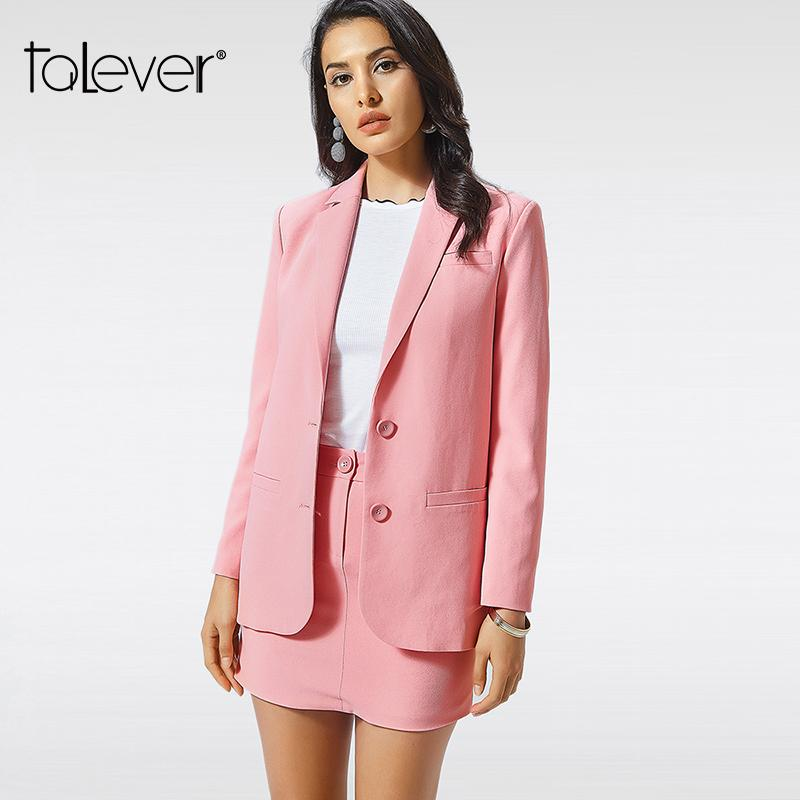 new styles 0be16 4224e Blazer e giacca rosa da donna New Autumn Fashion monopetto manica lunga  Office Lady Pocket Design Tops Suit Talever