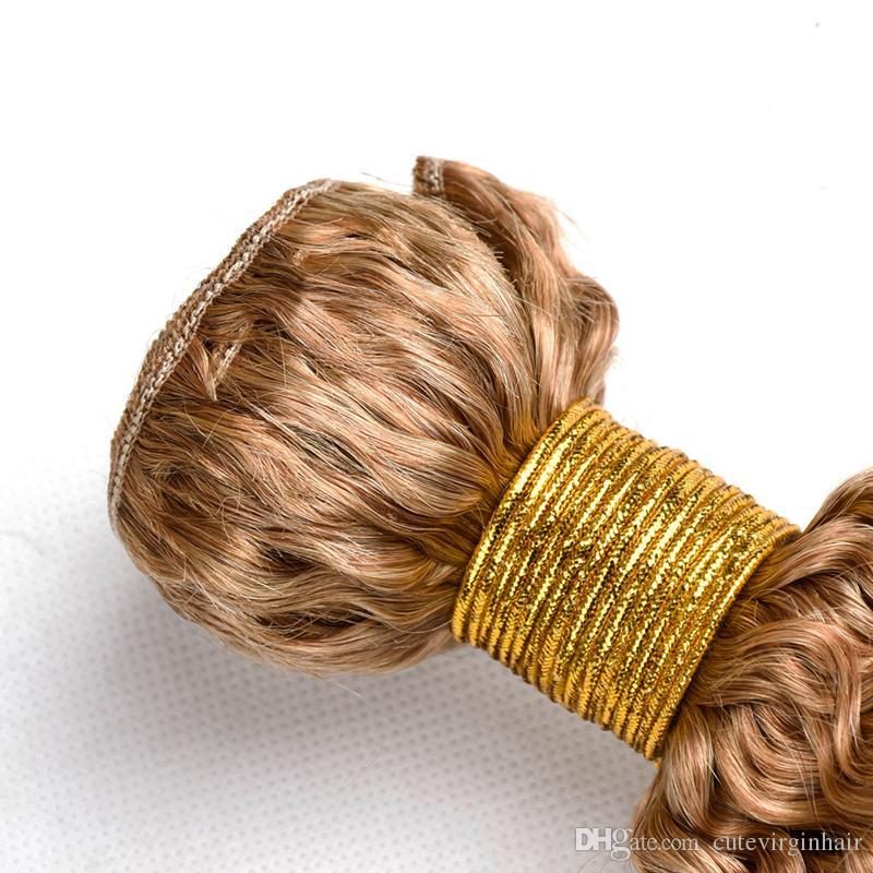 humains Bundles cheveux crépus bouclés 27 # Honey Blonde Vierge brésilienne péruvienne malaisienne Curly Human Hair Extension Weaves offres à bas prix
