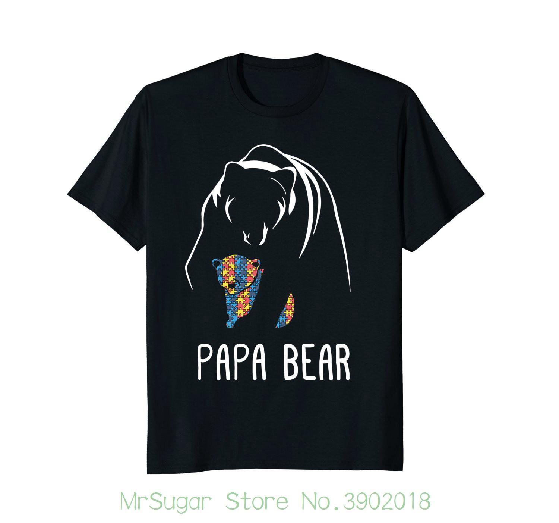 29448f71 Autism Papa Bear Autism Awareness Shirt New Mens Spring Summer Dress ...