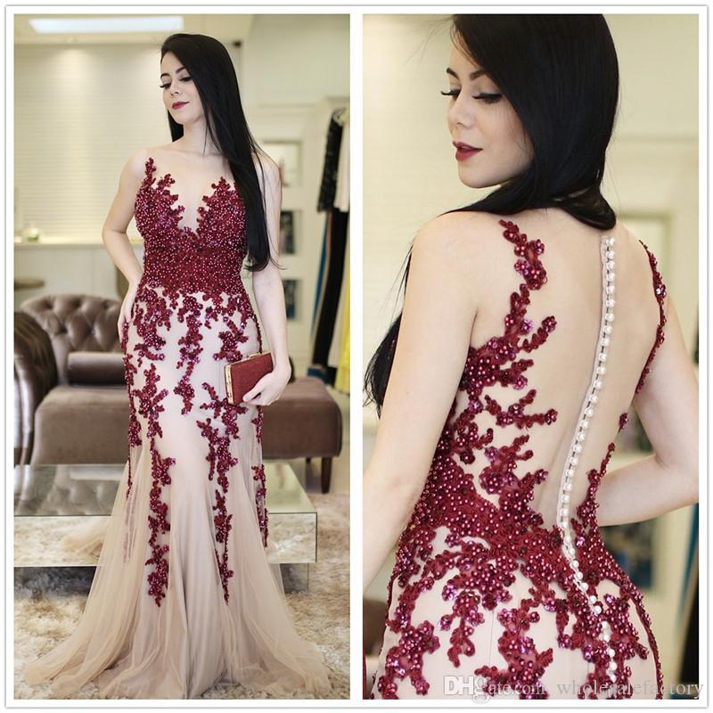 b4037dfffec5e 2018 Arabic Sheer Mesh Top Lace Mermaid Long Evening Dresses Applique  Beaded Sequins Floor Length Formal Prom Party Dresses
