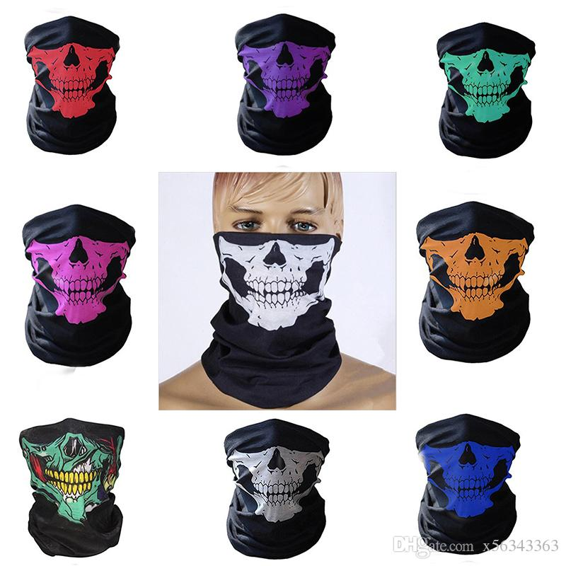 22 styles Halloween Mask Skull Skeleton Half Face Masks Outdoor Ski  Motorcycle Bicycle Headband Neck Warmer Ghost Mask Scarf Party Supplies