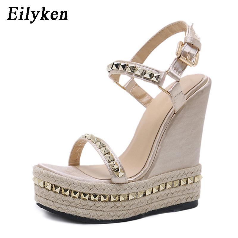 585e8e5bb Wholesale 2018 New Designer Summer Roman Sandals High Quality Metal Rivet Wedges  High Heels Sexy Peep Toe Platform Shoes Woman Boys Sandals Dansko Sandals  ...