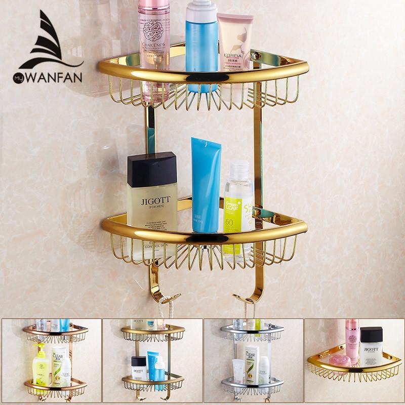 Badezimmer-Regale goldenes Messingmaterial mit Kleiderhaken 2-Tier  Badezimmer-Ablagekorb an der Wand befestigtes Badezimmer-Regal-Silber  HJ-116BK