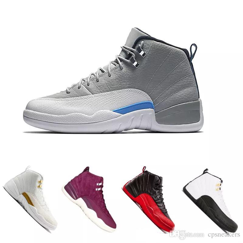 2595f20d6fe8 High Quality 12 12s OVO White Gym Red Dark Grey Basketball Shoes Men Women  Taxi Blue Suede Flu Game CNY Sneakers Size 41 47 Boys All Black Tennis Shoes  Kids ...