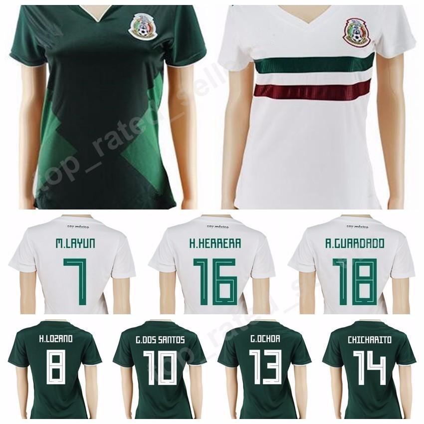 a57e1d29e Cheap Women Mexico Jersey Soccer 8 Hirving Lozano 10 Giovani Dos Santos 7  Miguel Layun Football Shirt Uniform Woman Lady 2018 World Cup Home Green