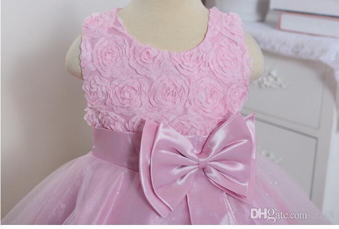Bebek Kız İlk Doğum Günü Partisi Elbiseler Büyük Yay Gül Çiçek Çiçek Akşam elbise Geri Yay Toptan