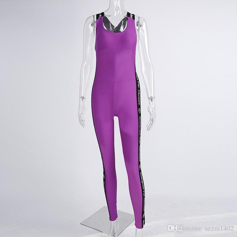 Women Summer Backless Jumpsuits Tight Yoga Gym Running Sport Bodysuit Fitness Set Jogging Sportswear Pants Jumpsuit Tracksuit Trouser Sets