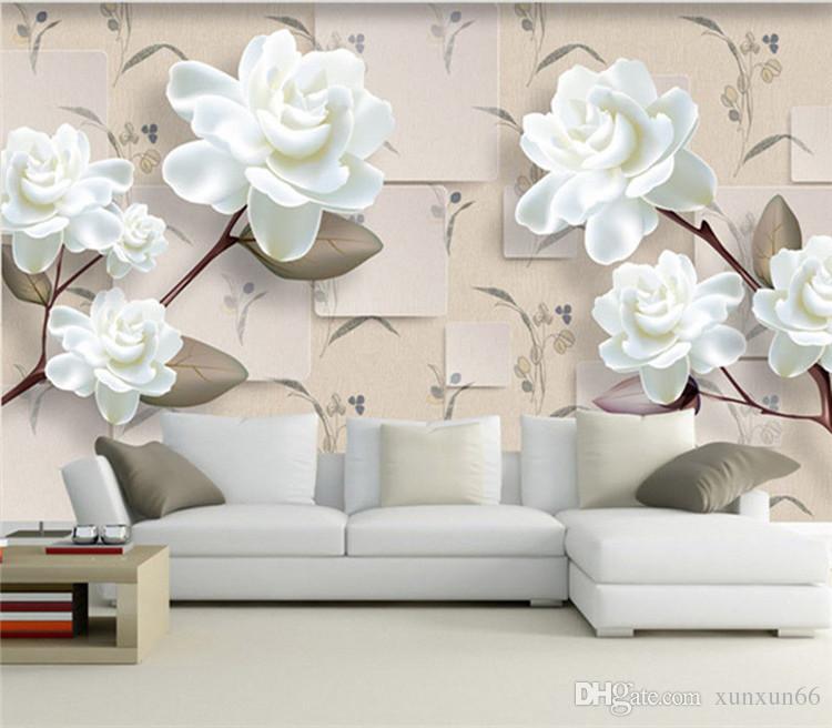 3D modern European-style three-dimensional flowers TV background wallpaper wallpaper living room bedroom sofa warm large frescoes