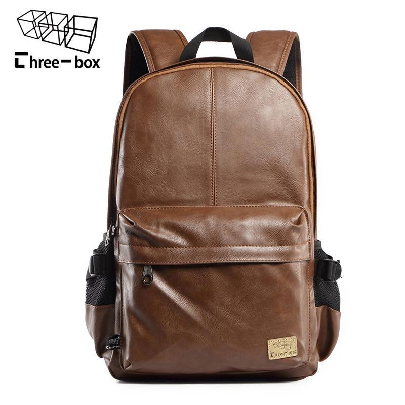 bc6c35712b20 Three Box 2017 Brand Leather Men S Backpack Fashion Three Colour Travel  Backpack Laptop Vintage Leather School Bag Weekend Bags Leather Backpacks  One Strap ...