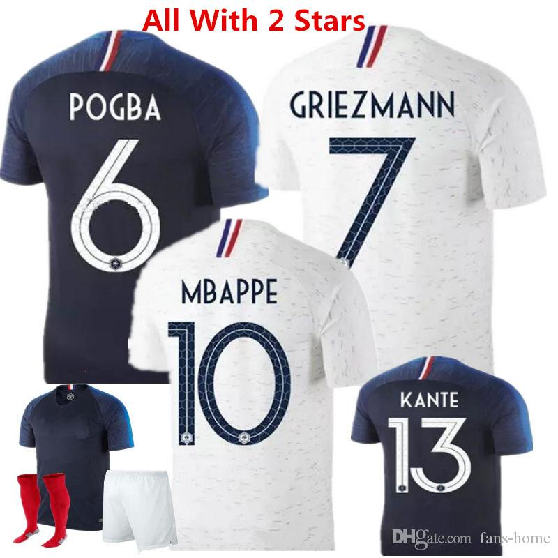 Football Jerseys 2018 France Blue Soccer Jerseys Griezmann Zidane ... d5e9cb5b2