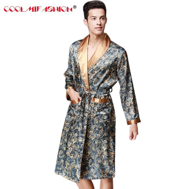 2019 Sexy Men Bathing Robe Dressing Gown Mens Robes Sleep Lounge