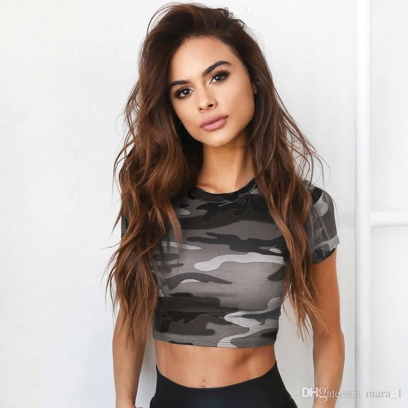 Women Camouflage Crop Top Short T-shirts Hollow out In Back Print Short Sleeve Sexy Blazer Summer Casual Tops Tees Crew Neck DHL