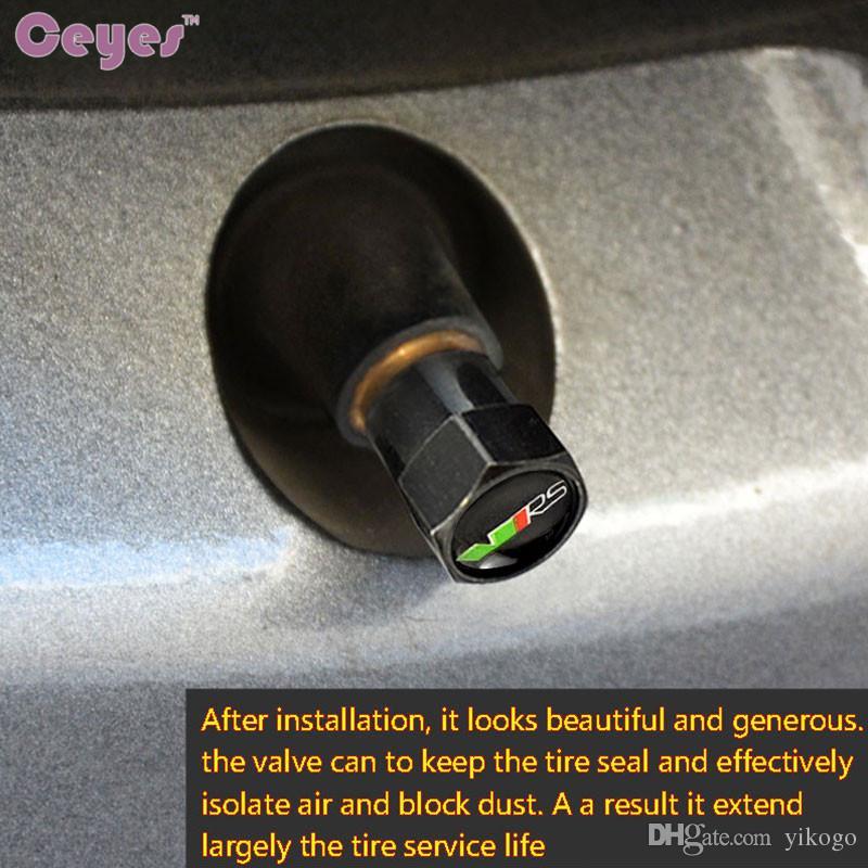 Válvulas del neumático de las etiquetas engomadas del coche para Skoda VRS octavia 2 a5a7 fabi soplo rápido estupendo de la rueda del neumático cubiertas del aire del coche que labra /