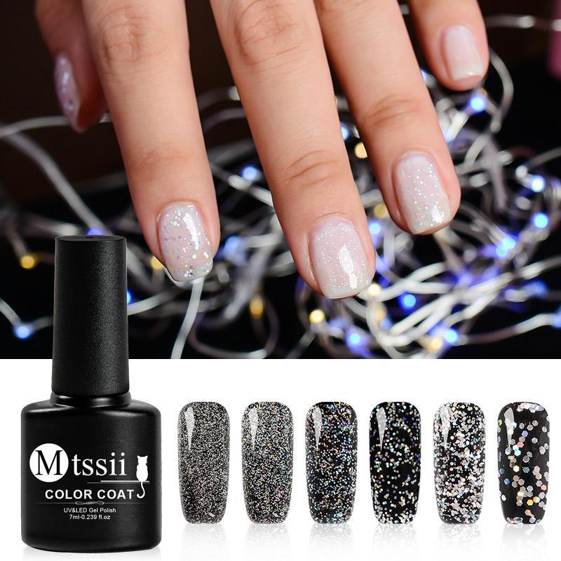 Mtssii 7ml Laser Silver Nail Gel Polish Glitter Gel Nail Polish