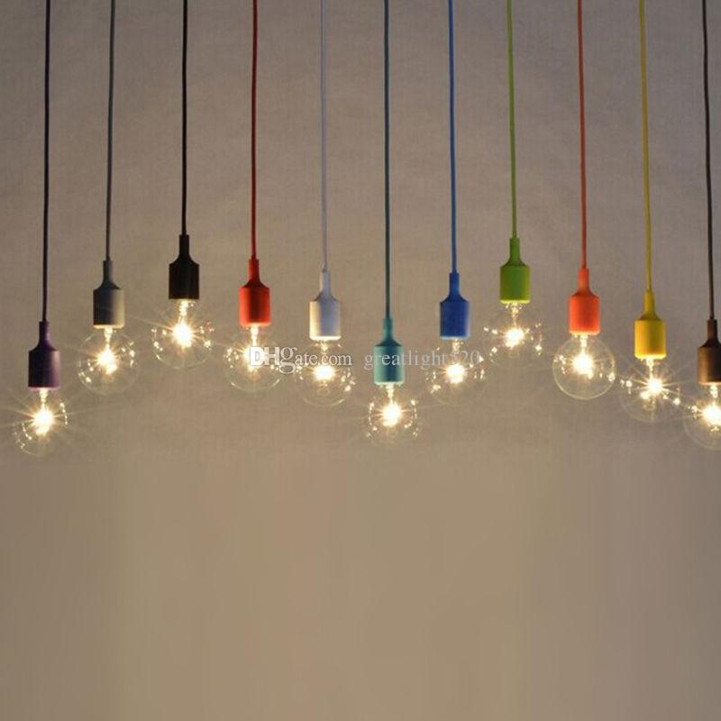 1M DIY Colorful Silicone Ceiling Braided Cord Pendant Lamp Holder For E27 Light Bulb