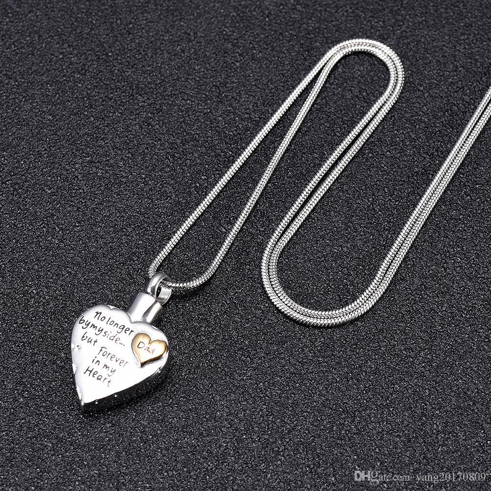 IJD9980-1 داد القلب الحرق قلادة الجرار للرماد التذكار مجوهرات الحرق مجوهرات أبي في قلبي ذكرى قلادة رماد جرة قلادة