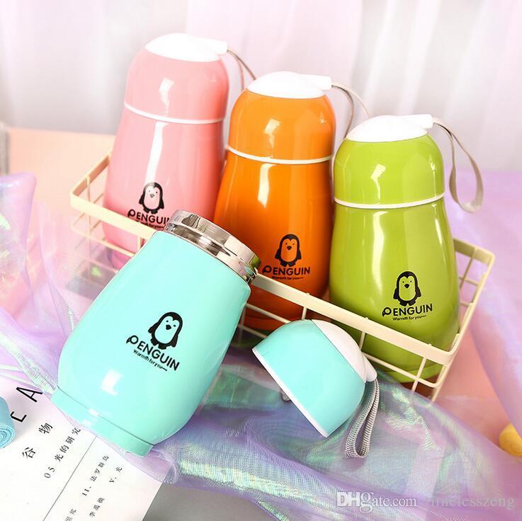 Pingüino de dibujos animados taza de vacío de acero inoxidable 300 ml frascos de vacío de dos pisos aislados tazas botella de agua fiesta regalos de boda premio estudiantil