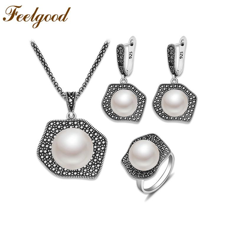 Feelgood bijouteri Imitation Pearl Jewelry Set Vintage Silver Color Copper With Black Cz Rhinestone Necklace Earrings Ring Sets