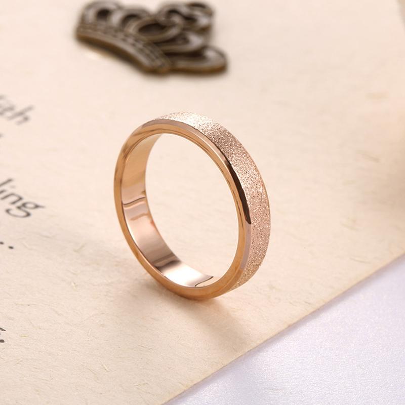 2018 4mm Couple Rings Vintage Titanium Dull Polish Rose Gold Wedding
