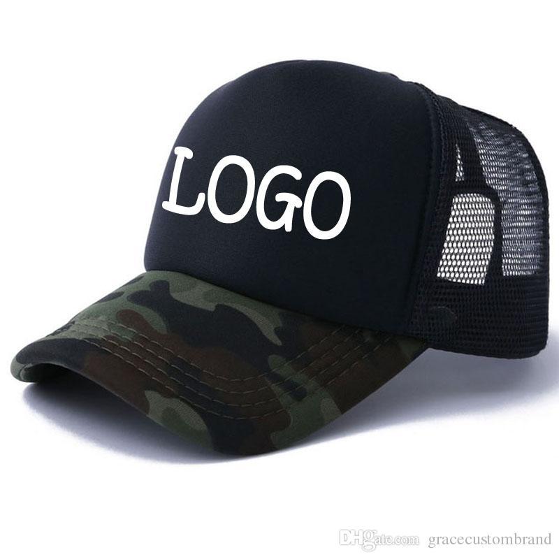 94f9a4c61fef9 New Adult Sun Hats Men Camo Caps Free Vinyl Printing LOGO Camouflage Curved  Trucker Cap Women Summer Snapback Hats Custom Your Inquiry Logo Visors  Millinery ...