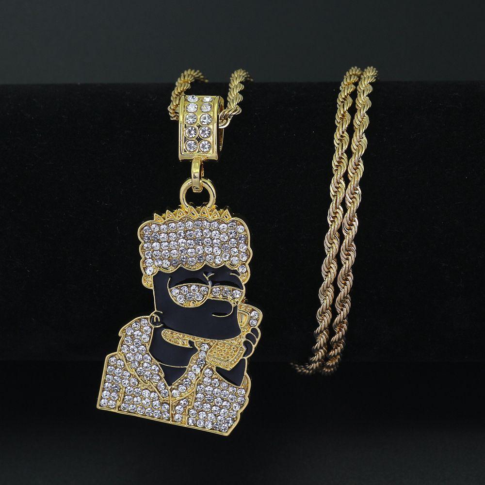 Neue Hip Hop Männer Frauen Cartoon Anhänger Halskette Schmuck 24 zoll Edelstahl Seil kette N403