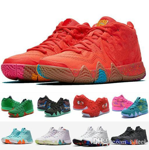 new style 5dd73 73c64 4s Kyrie IV Lucky Charms Men Basketball Shoes Top Quality Irving 4 Confetti  Color Green Designer Trainers Sneakers Free Shipping Size 40-46