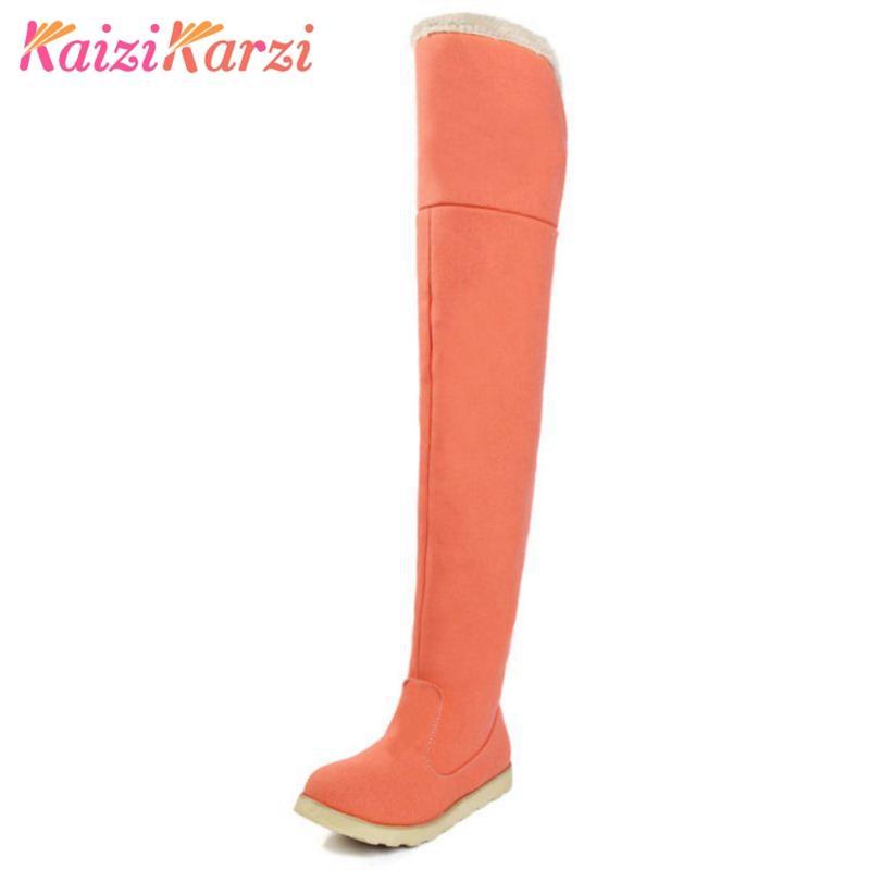 359854d3128 KaiziKarzi Size 34-43 Shoes Women Long Boots Round Toe Plush Fur ...