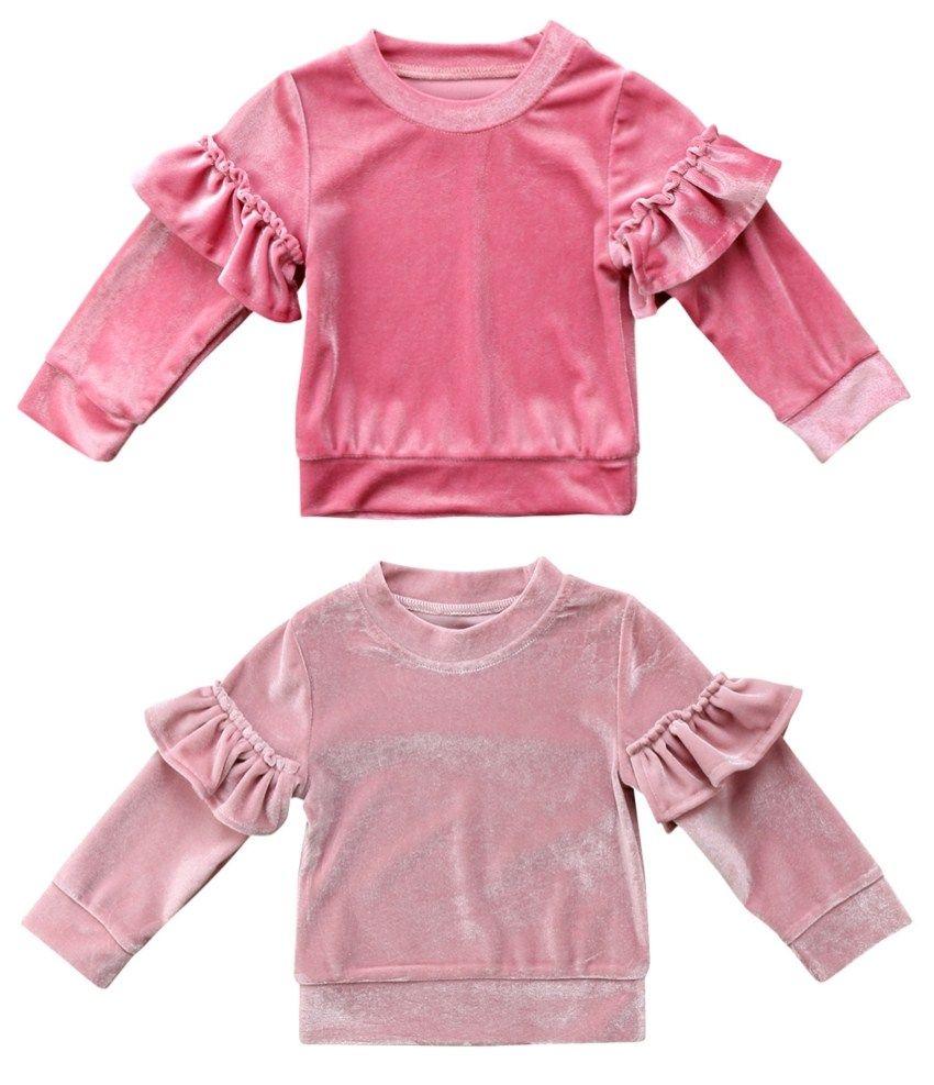 a2e1a3aa6c79 2019 Cute Kids Babys Girls Clothes Velvet Fleece Casual Long Sleeve ...