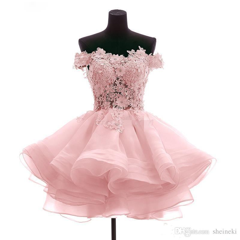 2018 New Red Pink Avorio Al Largo Della Spalla Applique Pizzo Breve Mini Abiti Homecoming In Rilievo Cocktail Prom Abiti Da Festa Abiti Custom Made