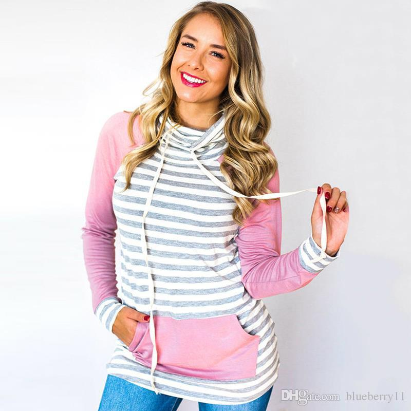 e42e092b872 Cheap Autumn Fashion Sweatshirt with Pocket Stripe Yellow Woman Hoodies  Casual Loose Sexy Sweatshirts Women Size S-XL