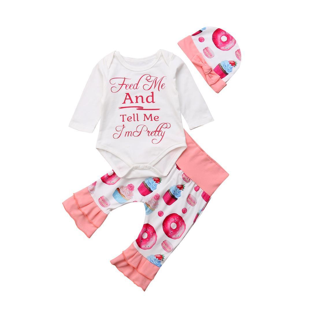 d0397c614 Compre Bebés Recién Nacidos Niñas Ropa Conjunto Moda Nueva Manga Larga Carta  Body Tops Donut Dibujos Animados Pantalones Largos Sombrero Trajes Casuales  ...