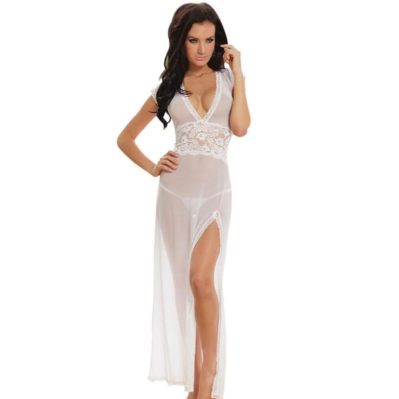 73a0cd7d0f Long Maxi Sexy Sleepwear Women Nightdress Lingerie Lace Sheer V Neck Night  Dress Babydoll Nightwear For Women Night Gowns S1011 Designer Nightwear For  ...
