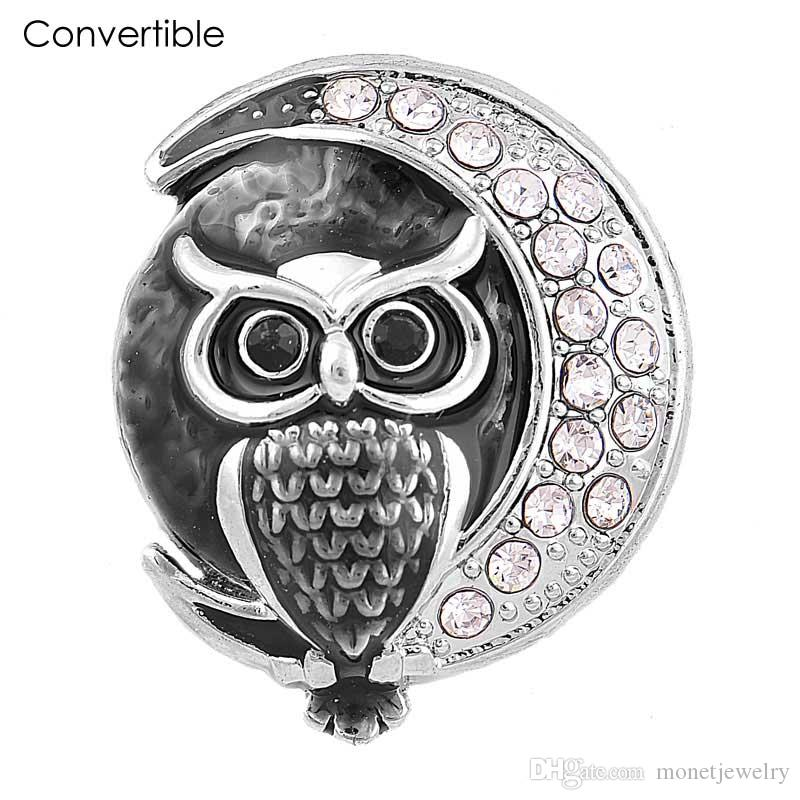 Newest Elegant Rivca High Quality inserts convertible Rhinestone alloy owl magnetic Brooch fit antique Scarf Clip Vintage Muslim pin Brooch