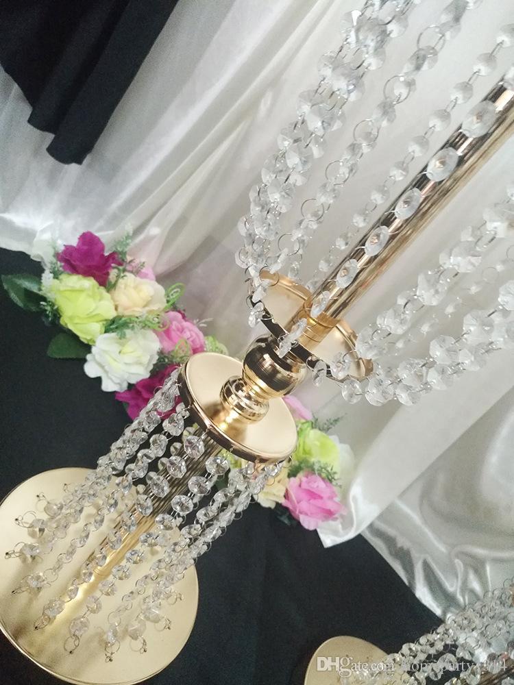 2018 تل طويل الاكريليك الكريستال الزفاف الطريق الرصاص الدعائم الزفاف الجدول المركزية الحدث حزب ديكور الزفاف الممر الممر زهرة زهرية
