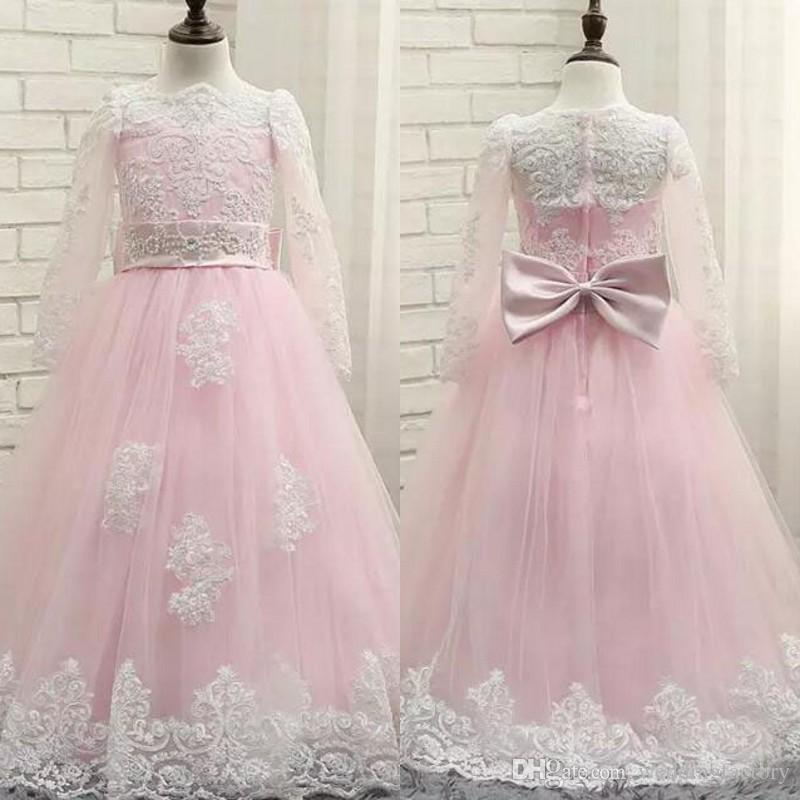 2b08960ac8b Ivory Pink Junior Bridesmaid Dresses Sheer Neck Illusion Long Sleeves  Beaded Lace Appliques Flower Girls  Dresses with Belt and Bow