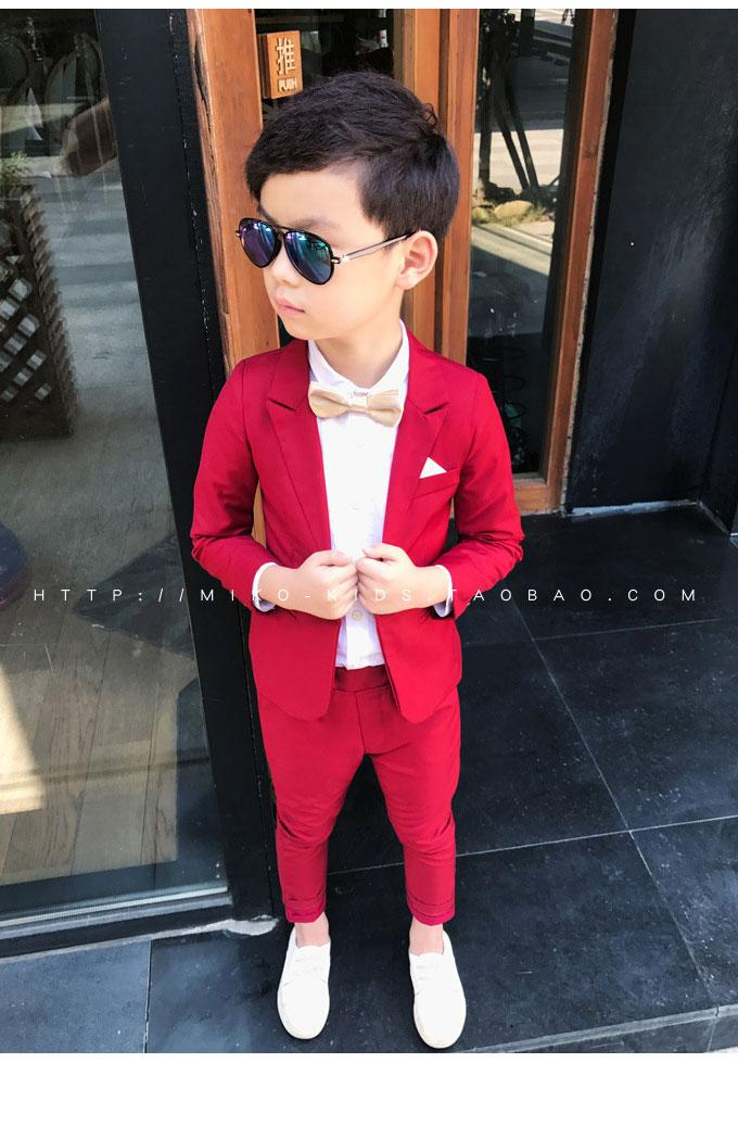 96c22644d982 2019 Wedding Boy Dress Blazer Pant Child Suit Color Red And Black ...