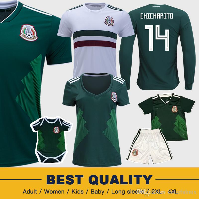 67a880e6ff05b 2019 Mexico 2018 World Cup Football Shirts Chicharito Lozano Dos Santo  C.VELA Mexico Green Long Sleeve Camisetas Kids Woman Uniform Soccer Jersey  From ...