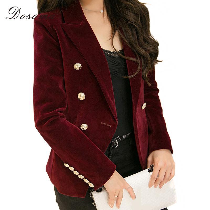 4666abb5c56e0 DOSOMA 2018 Velvet Jacket Coat Women S Clothing OL Style Double Breasted  Black Red Basic Jackets Coat Female Plus Size Brand Down Jackets Womens  Winter ...