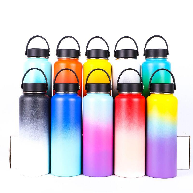 New Rainbow 18oz 32oz 40oz Water Bottle Vacuum Insulated thermos 304 Stainless Steel Wide Mouth Big Capacity Travel Mugs with lids
