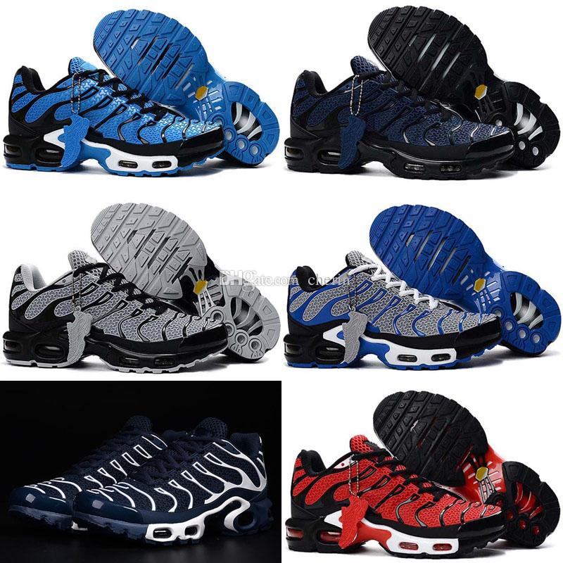 b11a61a3ff62 2018 New Mens Athletic TN KPU Air Running Shoes Adult Fashion Black Blue  Sport Run Trainer Sneaker 40 46 Running Shop Sneakers Sale From Cherin