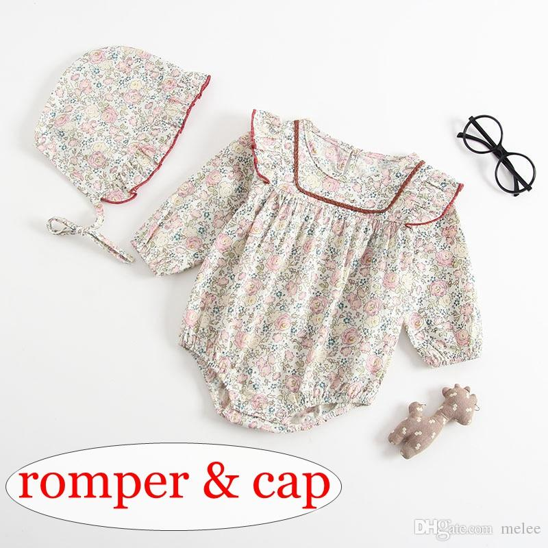 198c9e334 2019 Ins Long Sleeved BABY COTTON Full Floral Print Romper With ...