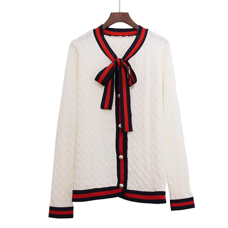 2018 Luxury Designer Brand Spring Knitted Cardigans Women Bow Twist G Pearl  Botton Stripe Edge Sweater Black White Red S18101005 Online with   52.09 Piece on ... 8a3d6df2e
