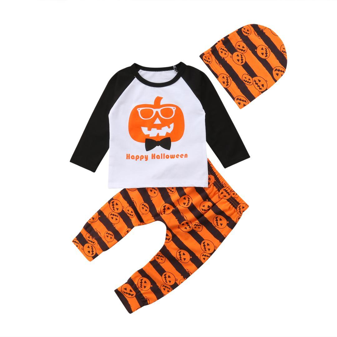 597d4eddd4663 2019 2018 Infant Baby Boy Girls Pumpkin Halloween Costume Clothes T Shirt  Striped Pants Leggings Autumn Set Outfit From Cassial, $39.82 | DHgate.Com