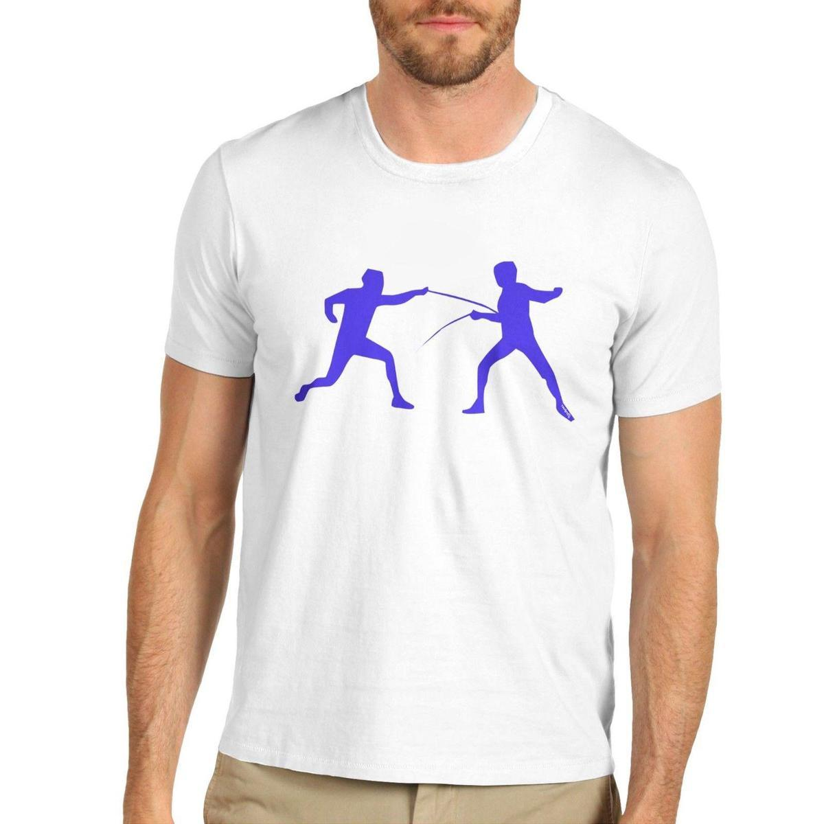 Mens Fencing Silhouette Graphic Sports Print T Shirt Tee Shirt