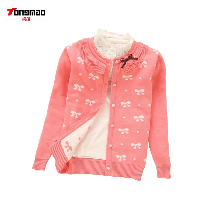 d1d79e29650 2017 New Autumn Winter Baby Girl Sweater Casual Style Girl Cotton Cardigan  Long Sleeve O Neck Solid Bow Pattern Children Sweater Free Knitting  Patterns ...