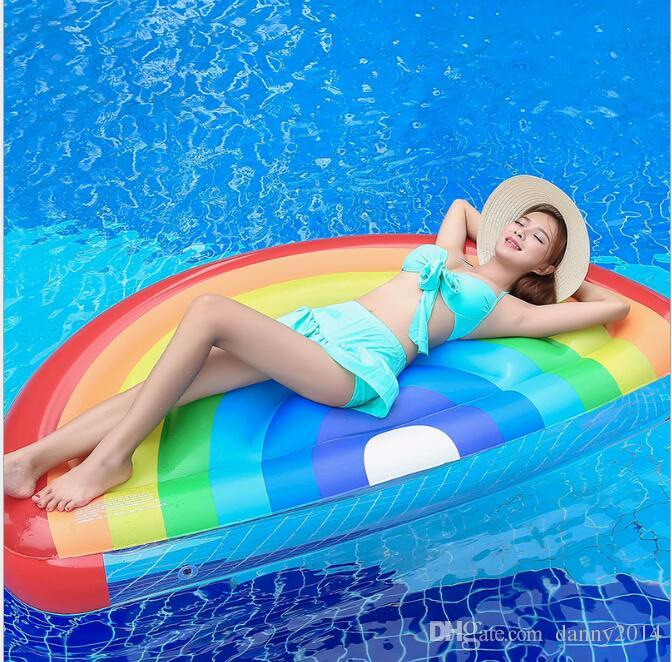 180x90cm swim Pool Floats Giant Inflatable Swimming Pool Toys Rainbow Floating Row swim Ring Inflatable Pool Rafts Water toys