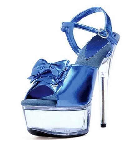 5d5224aaa424 Women Butterfly-knot Platform High Heel Sandals Blue red black Ankle ...