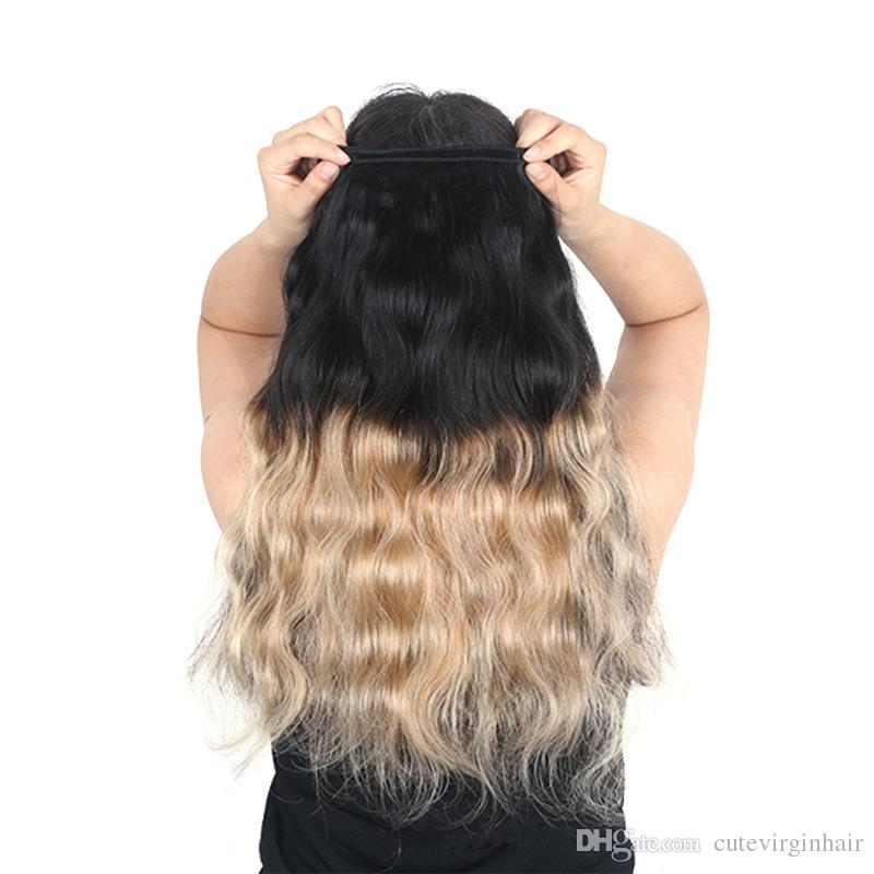 Colored Brazilian Hair 3 Bundles With 4*4 Lace Closure Body Wave 1B 27 Ombre Blonde Human Hair Weaves Extension Best Selling Items