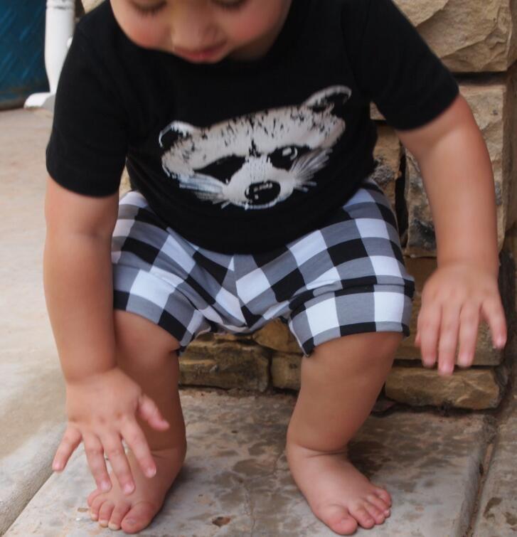 Ins Infant Baby Boys Clothes Set Short Sleeve Cartoon Fox Printed Cotton Tops T-shirt + Plaid Shorts Kids Outfits Children Sets 13879